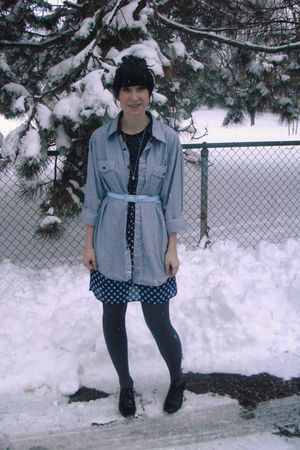 blue borrowed shirt - blue thrifted dress - blue Forever 21 belt - gray payless