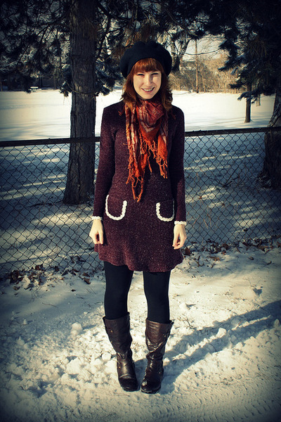 magenta handmade dress - black Target hat - dark brown vintage scarf - dark brow