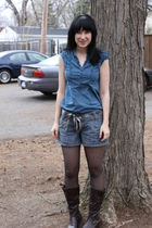 blue Forever 21 blouse - brown DIY belt - blue Target shorts - black CVS tights
