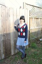 blue Forever 21 cardigan - white Kmart shirt - blue alloy skirt - blue Target ti