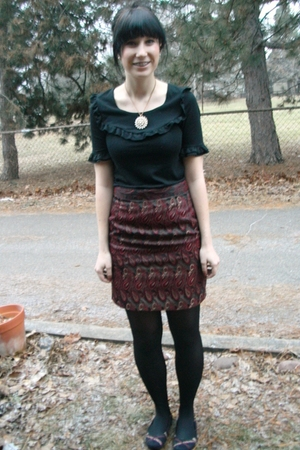 black Target shirt - red thrifted skirt - black CVS tights - black Target shoes