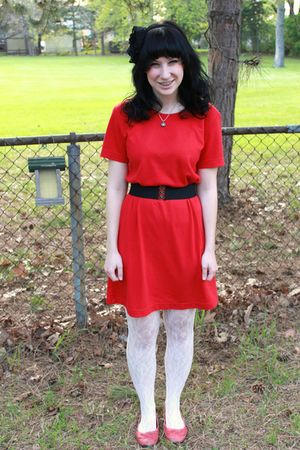 white lace Forever 21 tights - red Payless shoes - red gift dress