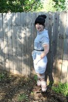 blue thirfted dress - silver Forever 21 tights - brown Forever 21 boots - gray F