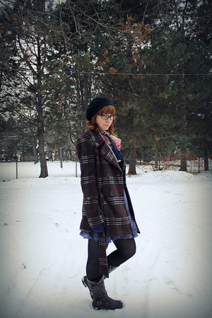 dark brown Bongo boots - purple plaid gift dress - dark brown plaid gift coat -