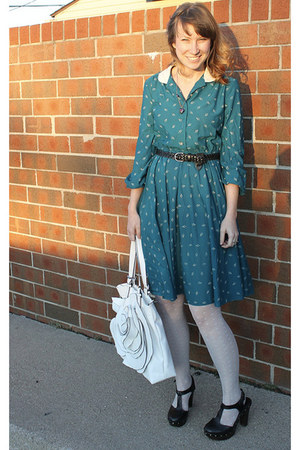turquoise blue vintage dress - white polka dot Target tights