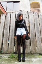 black Parisian bag - blue Levis shorts