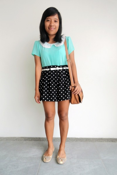 aquamarine Forever 21 top - black polka dots Forever 21 shorts