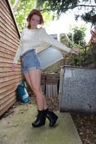 light blue Urban Outfitters shorts - ivory vintage top - black Aldo wedges