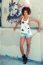 Sky-blue-h-m-shorts-white-cicihot-top-black-shoemint-heels