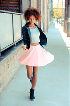 pink Zara skirt - black cicihot jacket - white romwe top