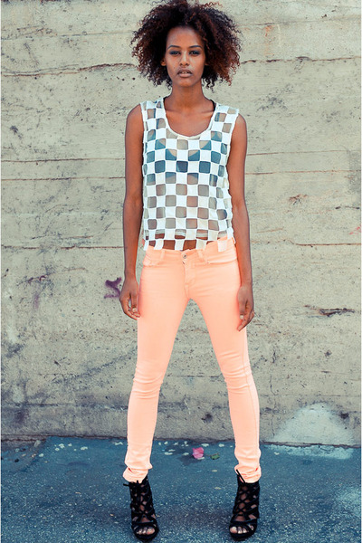 white mesh checker cicihot top - light pink foreign exchange pants