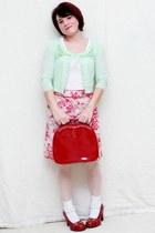 red Bongo heels - light pink Anne Klein skirt - lime green Candies cardigan