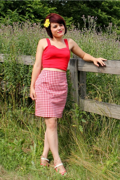 red Body Central top - red Limited skirt - white Two Lips heels