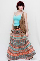 orange Forever 21 skirt - camel Express bag - aquamarine Forever 21 top