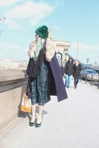 navy vintage coat - green fur chicwarm vintage hat - tan Prada bag