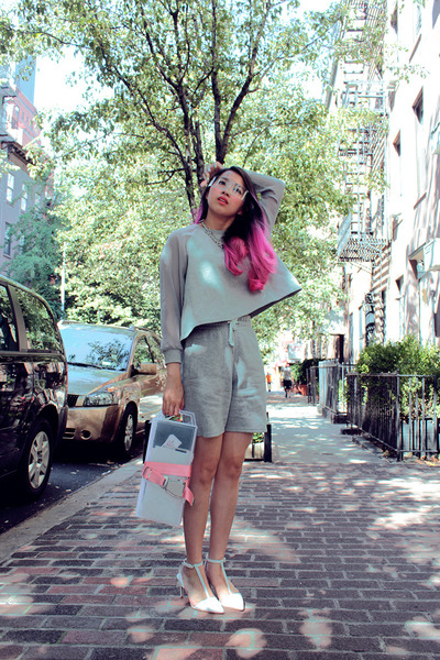 heather gray moota sweater - heather gray H&M shorts - white Zara heels