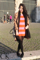 orange stripes H&M dress - camel trench H&M coat - beige canvas Fareast bag