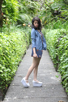 white sporty shoecorner wedges - sky blue denim print H&M blazer