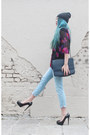 Black-diy-hat-light-blue-zara-jeans-black-vintage-shirt-navy-vintage-bag