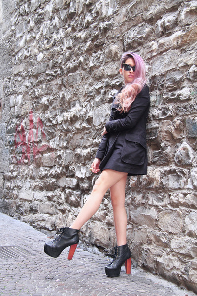 black black leather Jeffrey Campbell boots - black Zara coat