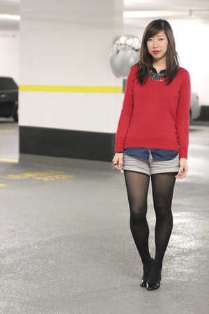 red Old Navy sweater - heather gray Forever 21 shorts
