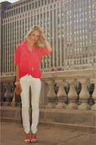 hot pink BCBG top - nude thrift purse - white Emilio Pucci pants