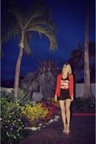 red H&M blazer - black Forever 21 shirt - white Zara shorts - black Zara heels