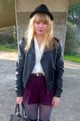 Magenta-h-m-shorts-black-miss-selfridge-jacket-white-vintage-blouse-dark-b