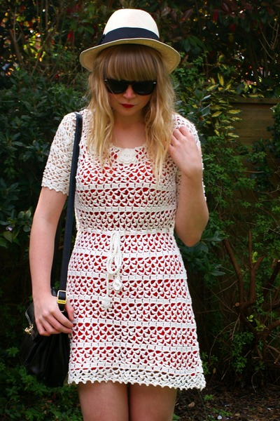 white crochet Forever 21 dress - red Topshop dress - Ebay sunglasses