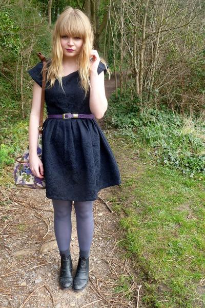 black asos boots - navy Dahlia dress - periwinkle asos tights - floral asos bag