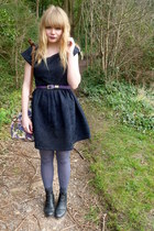black asos boots - navy Dahlia dress - periwinkle asos tights - floral asos bag