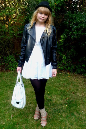 black Miss Selfridge jacket - white Dahlia dress - beige dads socks - pink asos