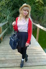 River-island-dress-blue-topshop-purse-red-h-m-cardigan