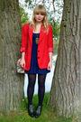 Red-vintage-blazer-blue-topshop-dress-beige-asos-bag-black-love-label-shoe