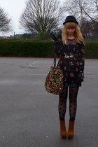 floral new look bag - Forever 21 jacket - floral tunic next top