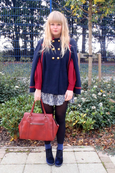 navy velvet Topshop shoes - ruby red thrifted vintage shirt