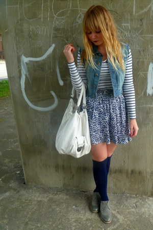 white Topshop bag - navy Primark socks - navy H&M skirt - denim Henry Holland ve