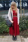 Red-mesh-dahlia-dress-black-oasapcom-bag-brown-vintage-belt