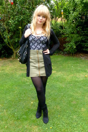H&M skirt - black H&M boots - black asos top - black Topshop cardigan - black ne