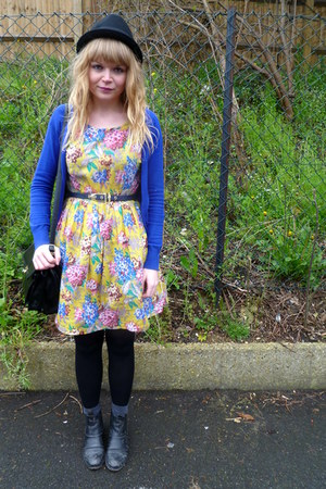black asos boots - yellow floral Dahlia dress - blue H&M cardigan