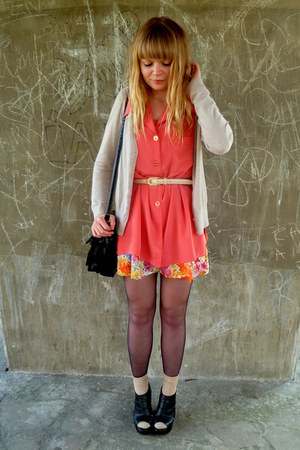 orange floral River Island dress - salmon vintage blouse - camel H&M cardigan
