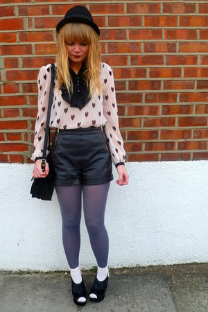 neutral Topshop socks - periwinkle asos tights - black vintage Jane Shilton bag