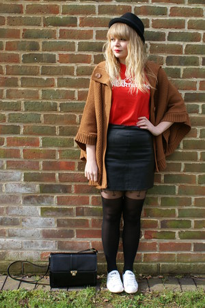 white Converse shoes - black asos tights - tawny Love Label cape - black leather