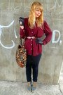 Black-topshop-jeans-tawny-forever-21-jacket-ruby-red-thrifted-shirt-floral
