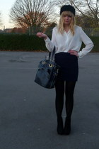 white vintage blouse - navy Topshop skirt - blue Topshop purse - black BHS hat -