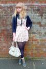 Cream-floral-dahlia-dress-navy-primark-tights-cream-mischa-barton-bag-teal