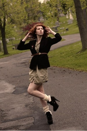 green thrifted Gap dress - black Charlotte Russe shoes - black vintage blazer
