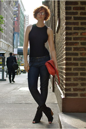 black restricted boots - navy thrifted Jordache jeans - ruby red vintage bag - b