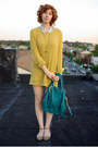 Mustard-wool-vintage-sweater-turquoise-blue-rebecca-minkoff-bag