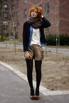 tan sequin Club Monaco shorts - black Jcrew blazer - blue denim Forever 21 shirt